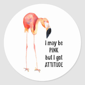 Sticker Rond Flamant rose femelle avec l'attitude
