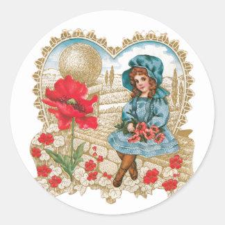 Sticker Rond Fleur antique de fille de Valentine