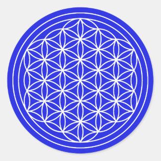 Sticker Rond Fleur bleue d'autocollant de la vie