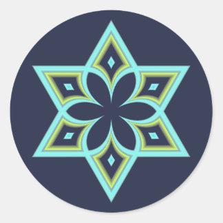 Sticker Rond Fleur de ressort d'étoile de David