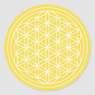 Sticker Rond Fleur jaune d'autocollant de la vie