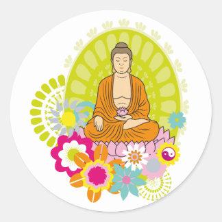 Sticker Rond Fleurs de Bouddha au printemps