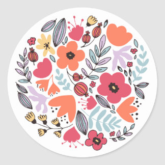 Sticker Rond Fleurs d'imaginaire