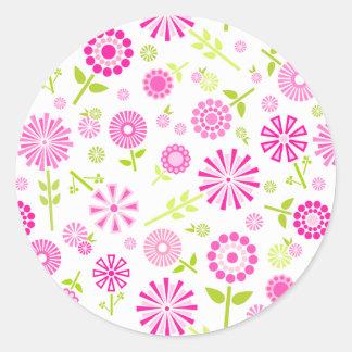 Sticker Rond Fleurs roses mignonnes de ressort