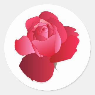Sticker Rond Floral rouge s'est levé
