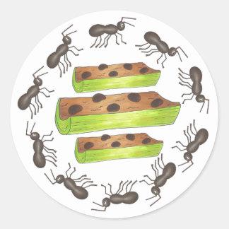 Sticker Rond Fourmis sur un pique-nique de raisins secs de