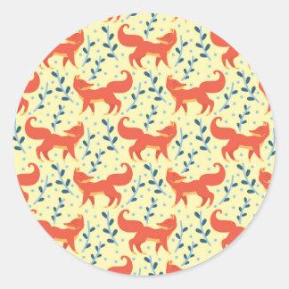 Sticker Rond Fox dans le motif sans couture de vecteur de forêt