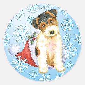 Sticker Rond Fox Terrier heureux de fil de Howliday