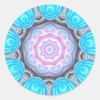 Sticker Rond Fractale rose de globe oculaire