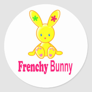 Sticker Rond Frenchy Bunny - for  Lady - Cute and Happy