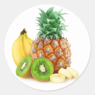 Sticker Rond Fruits tropicaux