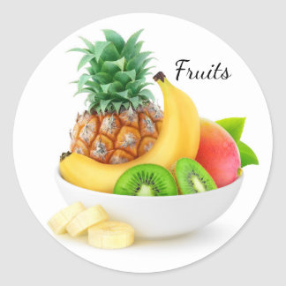 Sticker Rond Fruits tropicaux dans une cuvette