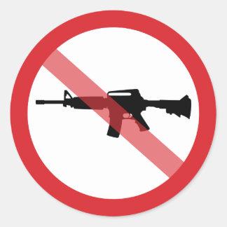 Sticker Rond Fusils d'assaut d'interdiction - aucune ligne
