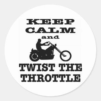 Sticker Rond Gardez le calme et tordez le cycliste de commande