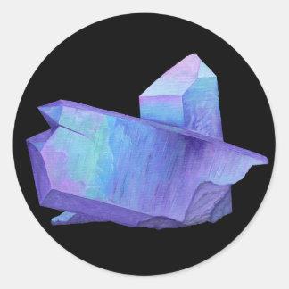 Sticker Rond Geode en cristal pourpre de quartz d'aura d'ange