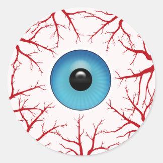 Sticker Rond Globe oculaire injecté de sang déplaisant