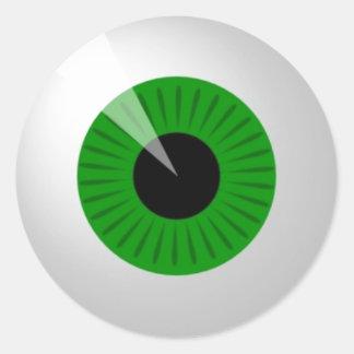 Sticker Rond Globe oculaire vert
