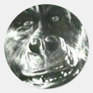 Sticker Rond Grand visage de singe