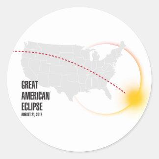 Sticker Rond Grande éclipse solaire américaine 2017