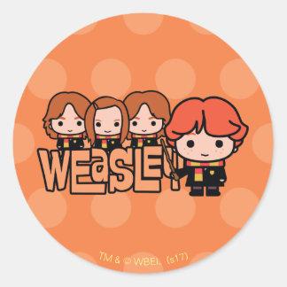 Sticker Rond Graphique de Weasley Siblilings de bande dessinée