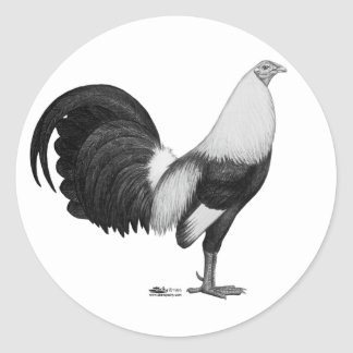 Sticker Rond Gris Duckwing de coq de combat