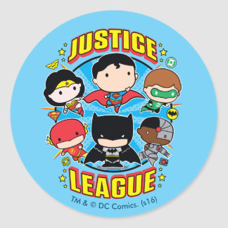 Sticker Rond Groupe de ligue de justice de Chibi