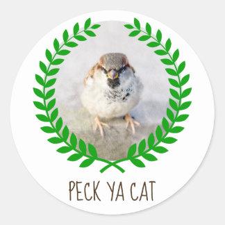 Sticker Rond Guerrier de moineau - picotez personnalisable