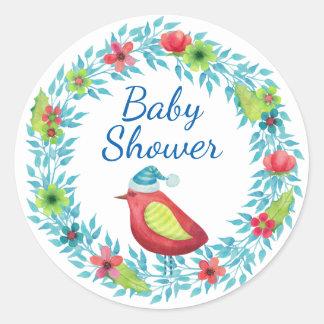 Sticker Rond Guirlande de fleur d'hiver avec le baby shower