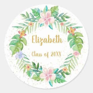 Sticker Rond Guirlande florale tropicale