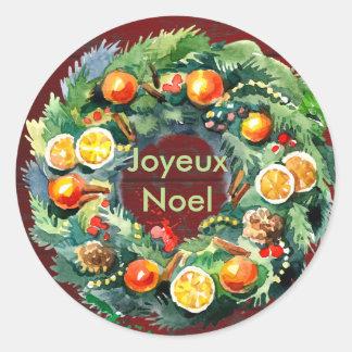 Sticker Rond Guirlande fructifère Painterly de Noël