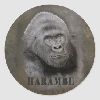 Sticker Rond Harambe (dessin de graphite)