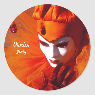 Sticker Rond Harlequin avec le costume orange et le masque