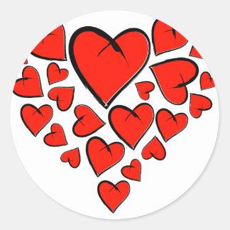 Sticker Rond Heartinella - coeurs de vol