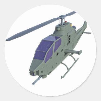 Sticker Rond Hélicoptère d'Apache dans la vue de face