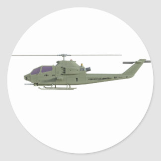 Sticker Rond Hélicoptère d'Apache dans le profil de vue de côté