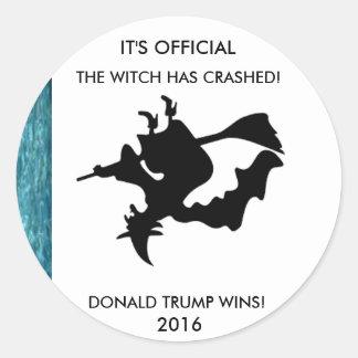 Sticker Rond Hillary Clinton la sorcière s'est brisée des