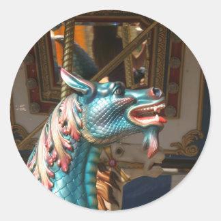 Sticker Rond Hippocampe de carrousel