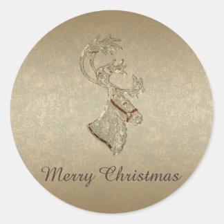 Sticker Rond Hiver à la mode élégant de renne de Noël de