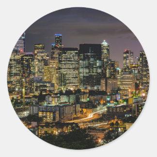 Sticker Rond Horizon de Seattle la nuit