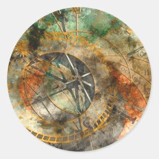 Sticker Rond Horloge astronomique à Prague, République Tchèque