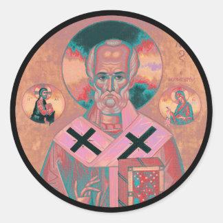 Sticker Rond Icône de Nicholas de saint