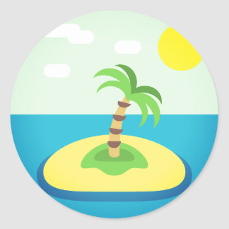 Sticker Rond Île tropicale Emoji