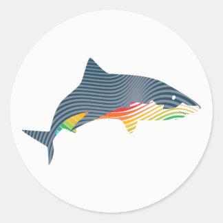 Sticker Rond Illustration de bruissement de requin
