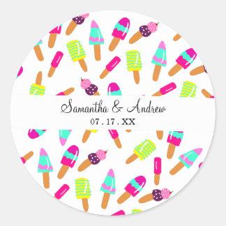 Sticker Rond Illustration lumineuse moderne d'été de crème