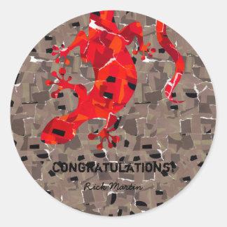Sticker Rond Imaginaire de lézard de mosaïque