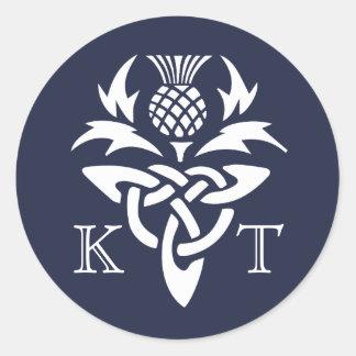 Sticker Rond Initiales celtiques de chardon - marine