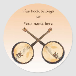 Sticker Rond Instrument de musique de banjo sur l'ex-libris
