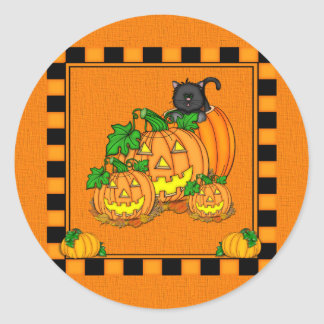 Sticker Rond Jack O'Lanterns Halloween