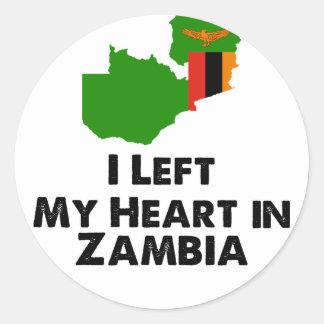 Sticker Rond J'ai laissé mon coeur en Zambie