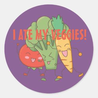 Sticker Rond J'ai mangé mon pourpre de carotte de brocoli de